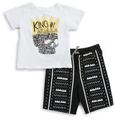 Amy Coe Baby Boys King of Skulls Tee and Shorts Set