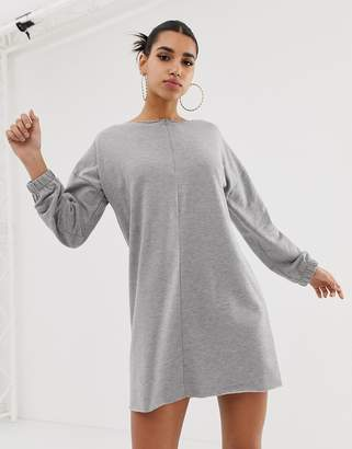 Asos Design DESIGN zip front raw edged sweat dress-Grey