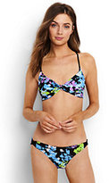 Lands' End Women's Reversible Twist Front Bikini Top-Dandelion/Light Turquoise