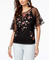 Thalia Sodi Embroidered Mesh Top, Created for Macy's