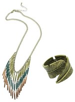 Antique Finish 2-Piece Fashion Necklace and Leaf Bracelet Set