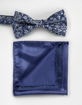 Selected Navy Plain Bow Tie and Pocket Square