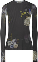 Acne Studios Niala Printed Stretch-jersey Top - Charcoal