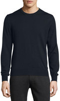 Moncler Virgin Wool Logo Crewneck Sweater, Navy
