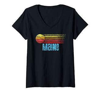 Womens Maine Retro Distressed Sun Vintage Graphic V-Neck T-Shirt