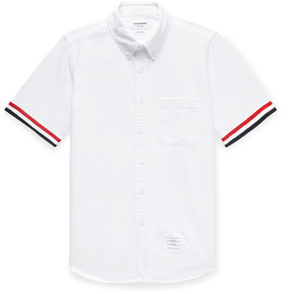 Thom Browne Button-Down Collar Striped Grosgrain-Trimmed Cotton Oxford Shirt