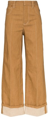 Chloé Front Pleat Wide Leg Denim Jeans