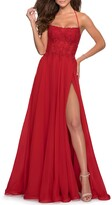 Thumbnail for your product : La Femme Square-Neck Lace-Up Corset Gown with High-Slit