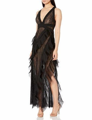 BCBGMAXAZRIA Women's Ruffled Lace Gown