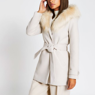 River Island Womens Beige belted faux fur hooded robe coat
