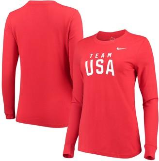 Nike Women's Red Team USA Wordmark Classic Core Long Sleeve Performance T-Shirt