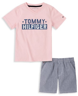 Tommy Hilfiger Little Boy's 2-Piece Logo T-Shirt Pinstripe Shorts Set