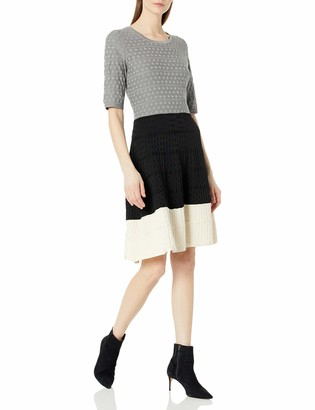 Gabby Skye Women's Elbow Sleeve Round Neck Color Block Fit and Flare Sweater Dress