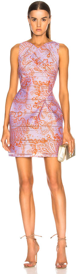 Roland Mouret Foxley Printed Striped Organza Dress
