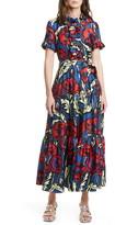 La DoubleJ Long & Sassy Floral Print Silk Twill Dress