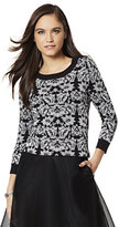 New York & Co. Waverly Crewneck Sweater - Lurex Jacquard