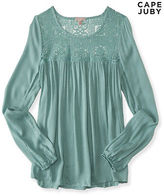 Aeropostale Womens Cape Juby Sheer Lace Yoke Peasant Top