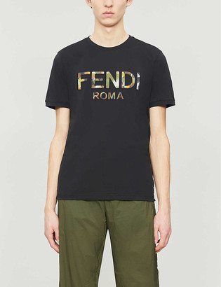 Fendi Brand-print crewneck cotton-jersey T-shirt