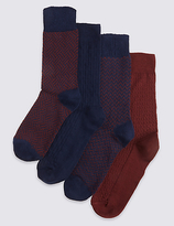M&s Collection 4 Pairs Of Freshfeettm Cotton Rich Socks