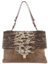 Lanvin Embossed Leather & Suede Flap Bag