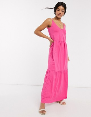 ASOS DESIGN strappy tiered maxi dress in hot pink