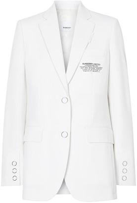 Burberry White Tailored Logo Blazer