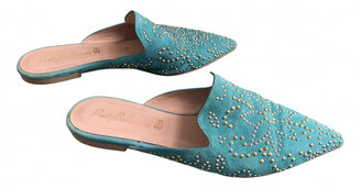Pretty Ballerinas Turquoise Suede Mules & Clogs