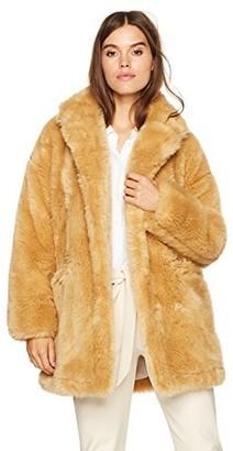 Halston Women's Long Sleeve Short Faux Fur Double Breast Coat