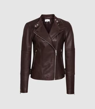 Reiss Tallis - Leather Biker Jacket in Plum