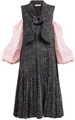 J.W.Anderson Polka-dot Cold-shoulder Dress - Womens - Black Multi