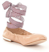 Gianni Bini Linet Ankle Wrap Lace Up Gingham Detail Ballet Flats