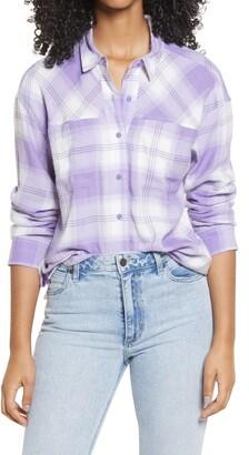 BP High/Low Plaid Button-Up Shirt