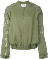 Blugirl floral sequin sleeve bomber jacket - women - Acrylic/Polyester/glass - 44
