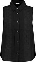 Clu Woven silk-paneled cotton-poplin shirt