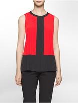 Calvin Klein Colorblock Pleated Top