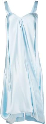 we11done Puff-Ball Hem Silk Slip Dress