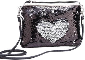 Ella & Elly Women's Handbags Black - Black & Silvertone Reversible Sequin Crossbody bag