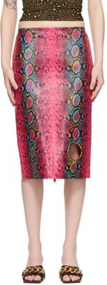 Versace Pink Leather Snake Skirt