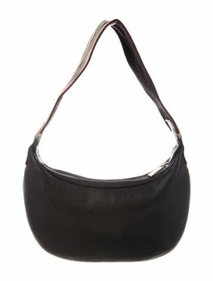 Burberry Canvas-Trimmed Leather Hobo Black