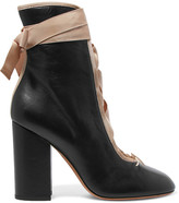 Valentino Lace-up Leather Ankle Boots - Black