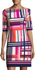 Eliza J-eliza j graphicprint halfsleeve shift dress pink pattern