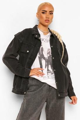 boohoo Folded Shoulder Detail Denim Jacket