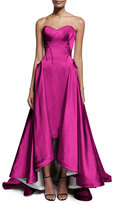 Zac Posen Strapless Pleated High-Low Gown