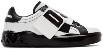 Dolce & Gabbana White and Black Elastic Logo Sneakers