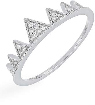 Carriere Sterling Silver Pave Diamond Crown Ring - 0.08 ctw