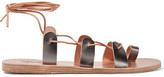 Ancient Greek Sandals Alcyone Lace-up Metallic Leather Sandals - Silver