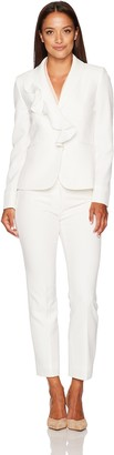 Tahari by Arthur S. Levine Women's Petite Size Chalk Stretch Crepe Pant Suit with Ruffled Collar 16P