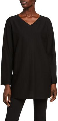 Eileen Fisher V-Neck Stretch Crepe Side Slit Tunic