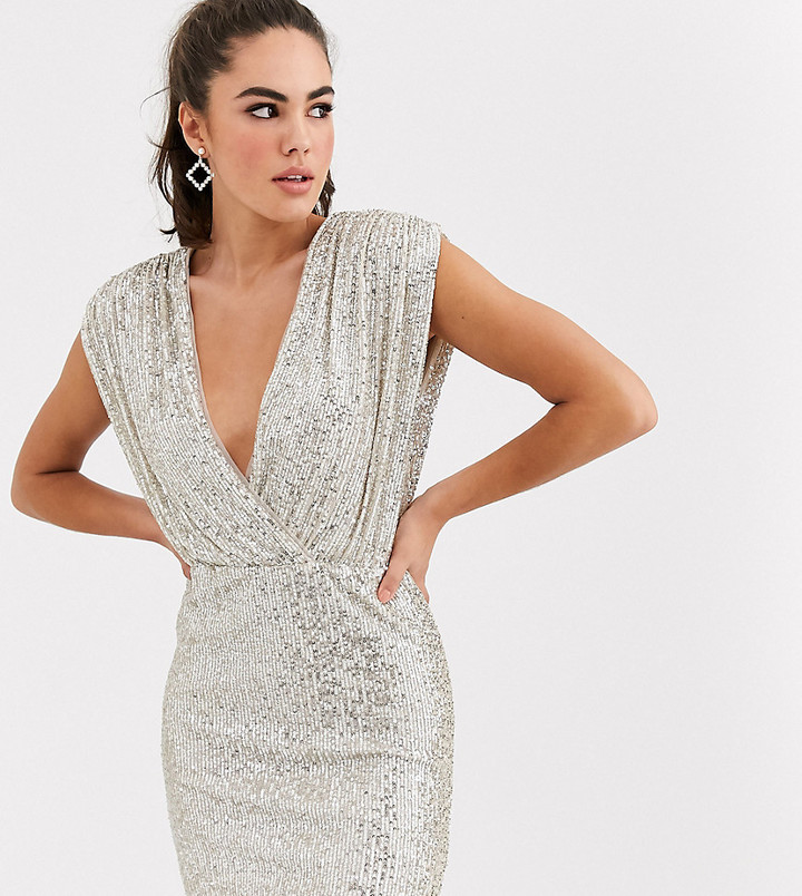 TFNC sequin wrap front mini dress in silver