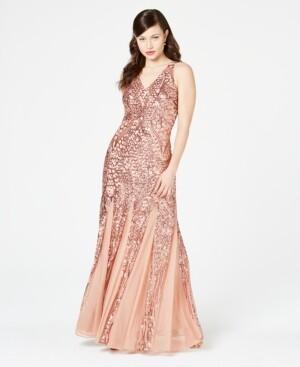 Night Way Nightway Sequined Mesh Gown